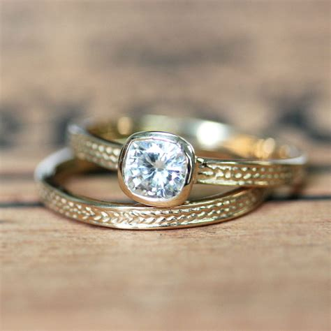 moissanite wedding braided gold ring recycled gold