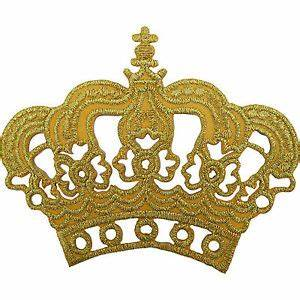 Gold Crown Patch Embroidered Iron / Sew On King Queen ...
