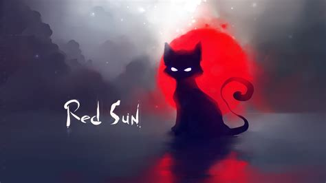 Download Wallpaper 1920x1080 Red Sun Black Cat Painting