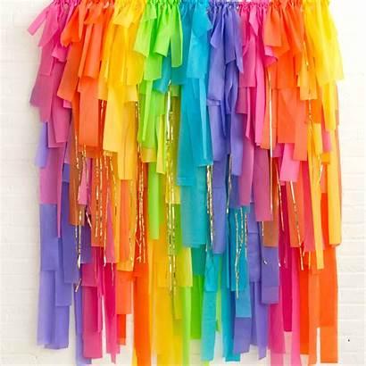 Streamer Backdrop Rainbow Bright Fringe Kit Party