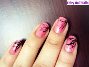 Pink nail art neon nails cute black designs