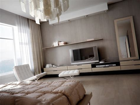 muted bedroom with modern light fixture and wooden