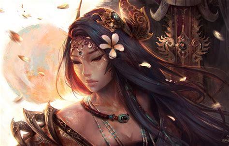 Wallpaper Girl Sword Fantasy Magic Long Hair Flowers Painting Brunette Artist Asian