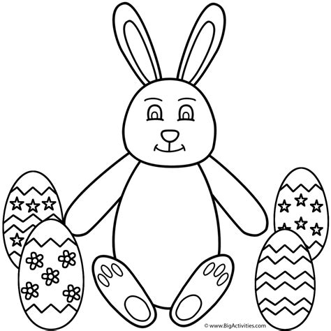 easter bunny sitting  easter eggs coloring page easter