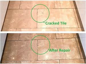 Cracked travertine tiled kitchen floor maintained in for How to fix cracked floor tile
