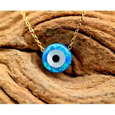 Evil eye necklace talisman opal evil nazar