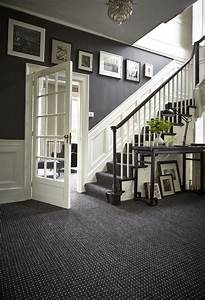Decorating Grey French Style Foyer With White Wooden Dado