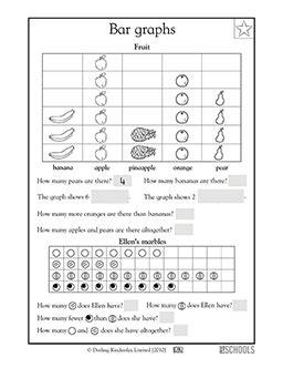 1st grade 2nd grade math worksheets fruit bar graph