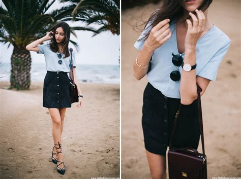 Light Blue and Button Down Skirt u2022 The Fashion Cuisine