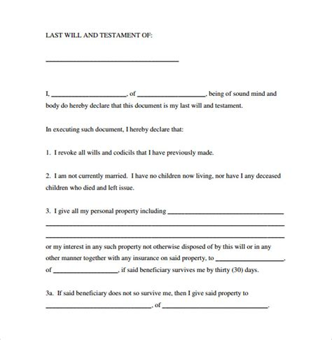 Simple Will Template 7 Sle Last Will And Testament Forms To