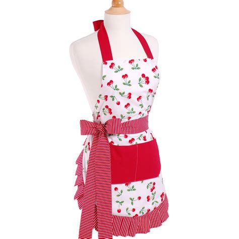 aprons for flirty aprons women s apron in very cherry reviews wayfair