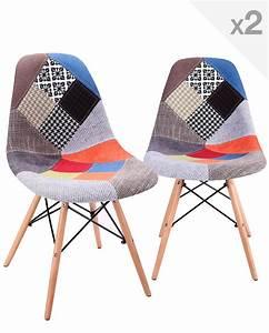 Conforama Chaise Scandinave : nadir lot de 2 chaises dsw design scandinave patchwork ~ Teatrodelosmanantiales.com Idées de Décoration
