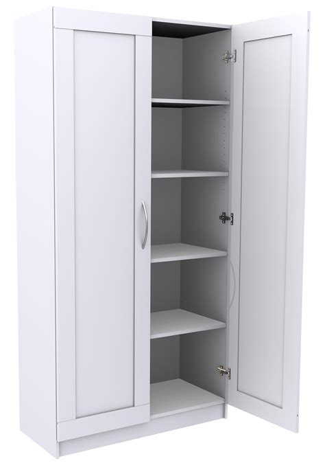 Moveable Rectangular White Storage Cabinet With Doors For
