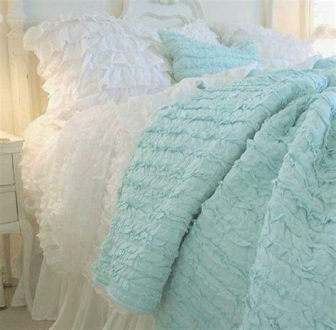 shabby chic turquoise bedding shabby chic aqua ruffle bed dreamy color me calm pinterest