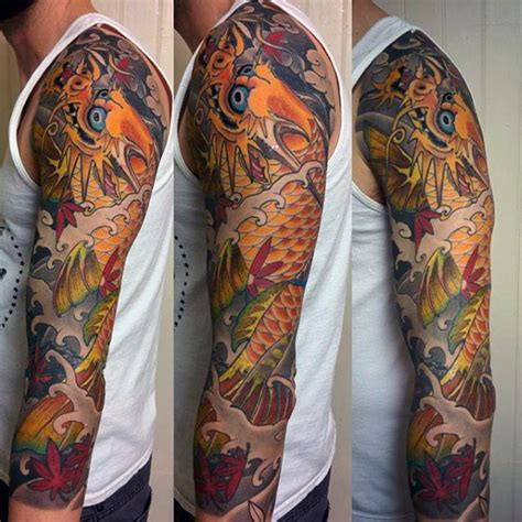 koi dragon tattoo designs  men japanese fish ink ideas