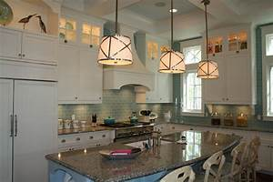 green subway tile backsplash kitchen beach with coffered With kitchen colors with white cabinets with glass and metal candle holders