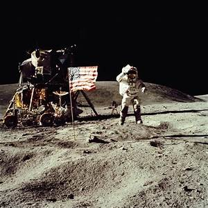 Apollo 16 Astronaut Salutes the US Flag on the Moon, July ...