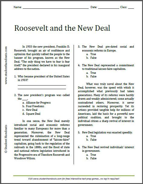 roosevelt and the new deal reading worksheet free to