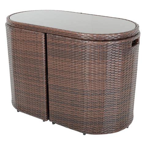 brown latina bistro garden table chairs rattan wicker