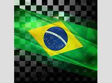 Brazilian flag on black and white squares background