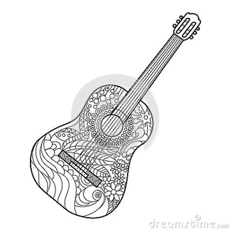 acoustic guitar coloring book  adults vector stock