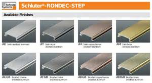 Schluter Tile Edging Colors by Schluter Rondec Step Anodized Aluminum Finishing And