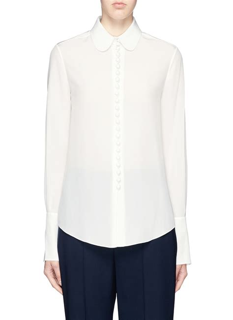 collar blouse chloé pan collar silk blouse in white lyst