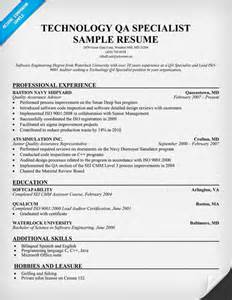 resume quality assurance specialist qa specialist resume sle
