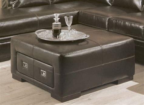 Contemporary Dark Brown Leather Storage Cocktail Coffee