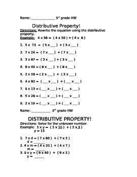 distributive property homework classroom doodads