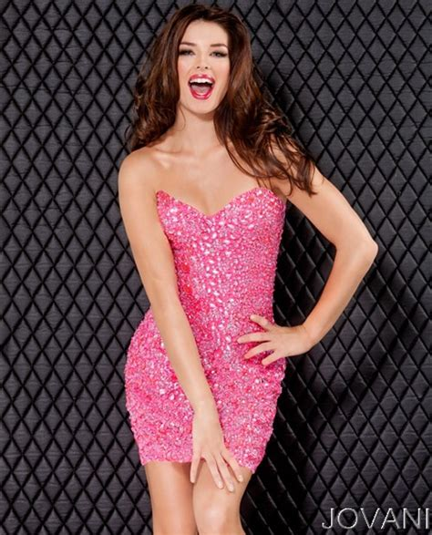 Sexy Tight Strapless Shortmini Pink Beaded Party Cocktail