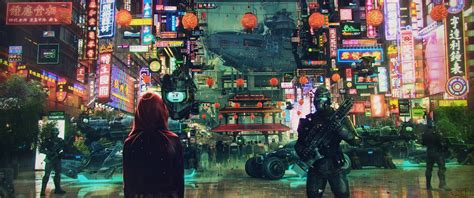 soldier science fiction cyberpunk cityscape asian