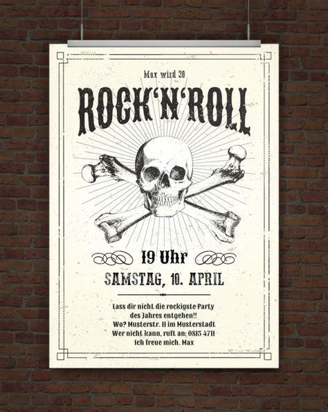 drucke selbst einladung rock  roll