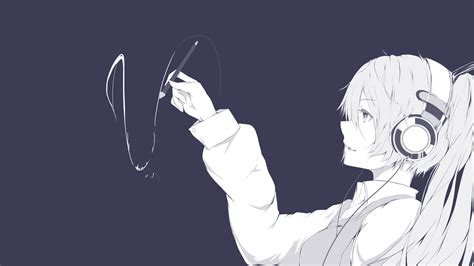 anime girl drawing headphones