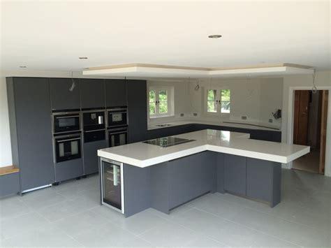 Tall Kitchen Island - handleless satin grey lacquer kitchen with 100mm quartz