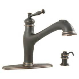 aquasource kitchen faucet shop aquasource rubbed bronze 1 handle pull out kitchen faucet at lowes