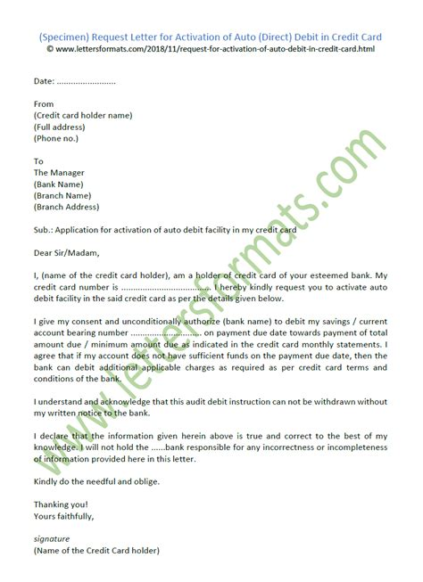 request letter  activation  auto direct debit