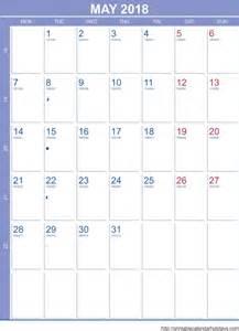 May 2018 Calendar with Holidays Printable