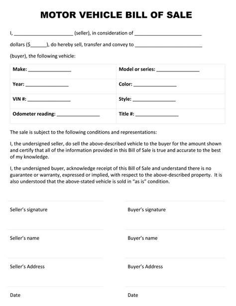 printable auto bill  sale form generic