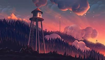 Digital Forest Landscape Sunset Computer Fantasy Tree