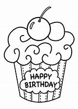 Coloring Birthday Pages Happy Printable Cake Print Cupcake sketch template