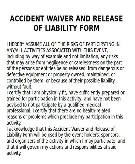 auto accident release of liability form pdf 9 sle insurance release forms sle templates