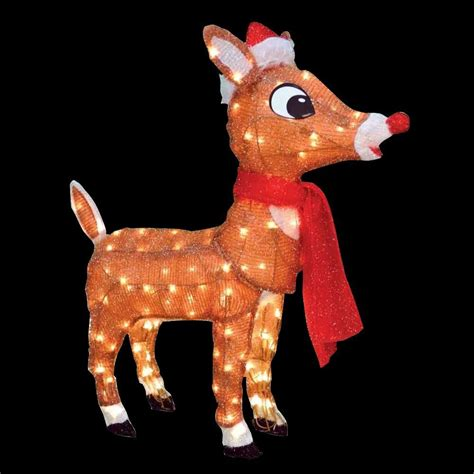 rudolph 36 in led 3d pre lit yard art with santa hat