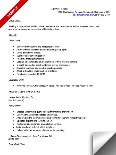 front desk resume objective search results for receptionist resume calendar 2015