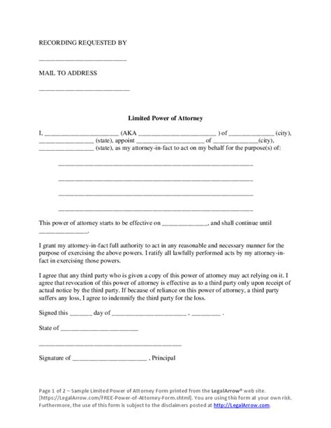 limited power  attorney sample form