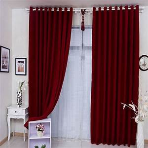 Plain red curtains are generous and elegant for Red and cream curtains for living room