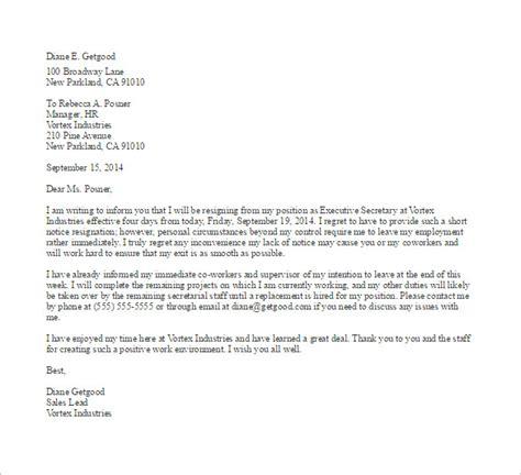 notice  resignation letter templates