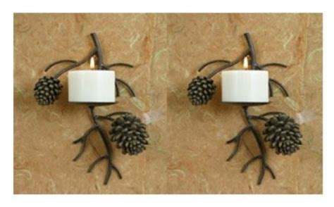 pinecone kitchen accessories set of two pinecone pine cone candle wall sconce lodge 1496