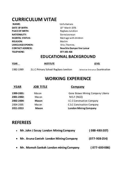 Dates On Resume Format by Cv Resume Cv Resume Date Of Birth