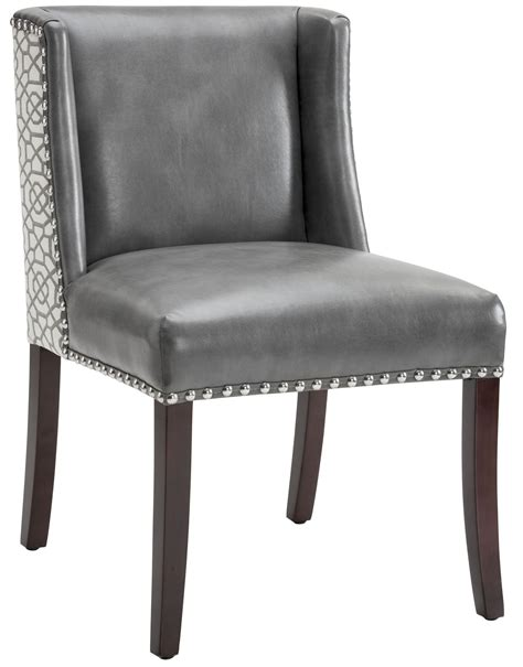 marlin grey leather  diamond fabric dining chair